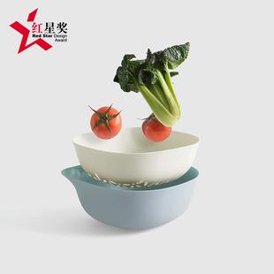 北欧风格家用双层镂空洗菜篮子滴水沥水篮创意塑料沥水果盘接水盘