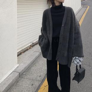 EKOOL马海毛宽松毛衣外套女秋冬季韩版显瘦加厚中长款V领针织开衫