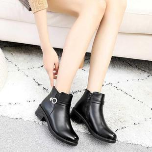 妈妈鞋冬季新款pu加绒粗跟雪地靴中跟加厚短靴百搭皮面马丁靴女靴