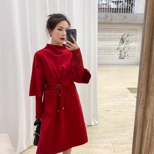 蓝语大码女装2019新款春微胖妹妹mm红色减龄遮肚连衣裙针织打底裙