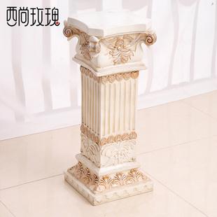 客厅落地树脂摆件底座罗马柱花架 欧式复古装饰品 创意古风小摆设