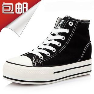 新款名仕匡威经典女款内增高帆布鞋黑白松糕厚底休闲板鞋高帮球鞋