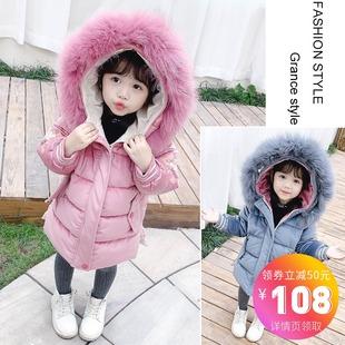 女童裝棉服韓版洋氣女寶寶加厚中長款棉衣外套羽絨棉冬裝中小兒童