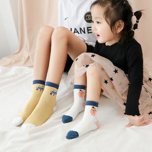 儿童袜子四季款精梳棉袜男女童春秋卡通中筒袜中大童婴儿袜 5双装
