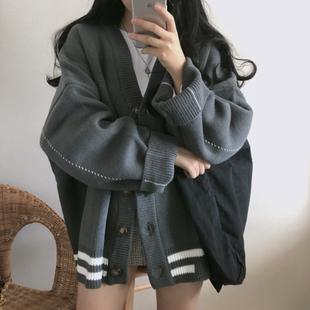 针织衫女春秋韩版宽松百搭学生V领小外套加厚慵懒风上衣毛衣开衫