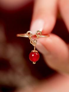 凤凰涅磐紧箍咒戒指女食指环转运珠戒指水晶草莓晶马来玉戒指网红