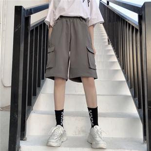 春夏2019韩版嘻哈原宿bf风宽松中裤学生休闲阔腿五分工装短裤女潮