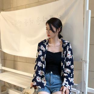 2019酷帅藏蓝色花衬衫 韩版宽松显瘦前短后长雪纺长袖衬衣女夏
