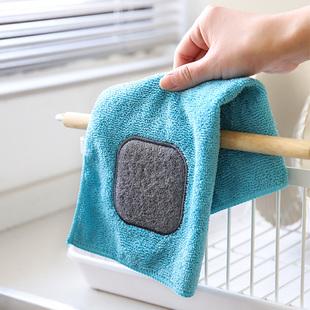 舍里 加厚不掉毛洗碗巾厨房抹布百洁布擦碗锅神器清洁去污毛巾布