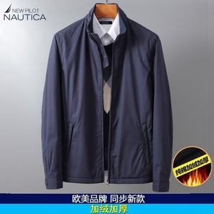 领航诺帝卡秋冬季男士外套加厚加绒保暖棉服宽松中年夹克大码男装