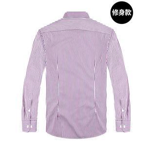 正品治白衬衣条纹男士商务寸衫纯棉时尚休闲男装衣服春季长袖衬衫