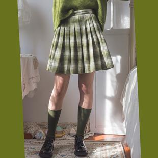晃日光绿野仙冬毛呢轻复古百搭质感高腰苏格兰格显瘦百褶短裙半裙