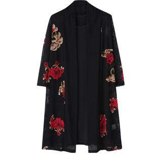 妈妈春装连衣裙两件套中年女春夏季气质显瘦中长款中袖打底衫套装