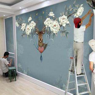 北欧电视背景墙壁纸家用简约现代客厅装饰墙纸麋鹿壁画5d影视墙布