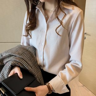 新款職業OL大碼女裝條紋長袖襯衣女春秋季韓版寬松顯瘦襯衫上衣服