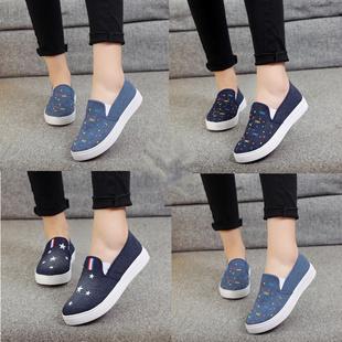 春季韩版厚底套脚牛仔布鞋一脚蹬学生帆布鞋板鞋休闲鞋女鞋懒人鞋