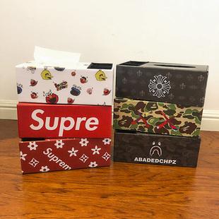 潮牌创意纸巾盒皮革抽纸盒家用客厅茶几简约可爱遥控器收纳多功能