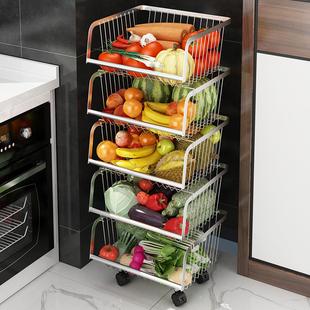 304不锈钢厨房置物架落地蔬菜架多层用品调料收纳筐放水果篮架子