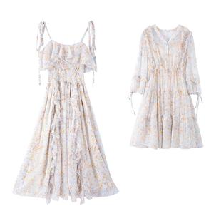 mimius2019夏装新款气质木耳真丝皱印花吊带裙女收腰小清新连衣裙