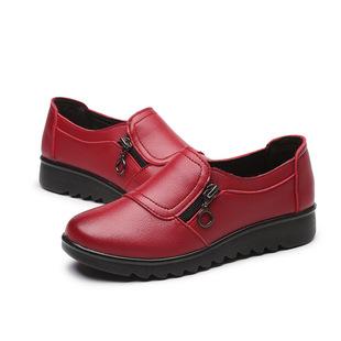 妈妈鞋女2019春季新款中老年低跟平底老人鞋皮鞋女鞋防滑舒适单鞋