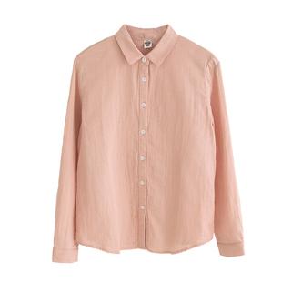 春秋新款簡約通勤小翻領純棉襯衫女長袖純色雙層棉紗顯瘦打底襯衣