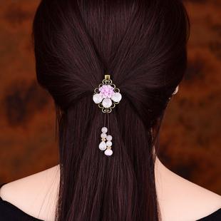 民族风发夹粉晶古典丸子头饰复古风发卡百搭少女后脑勺顶夹边夹