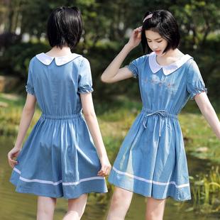 少女大童夏装牛仔连衣裙2019新款韩版学院风初中高中学生中长裙子