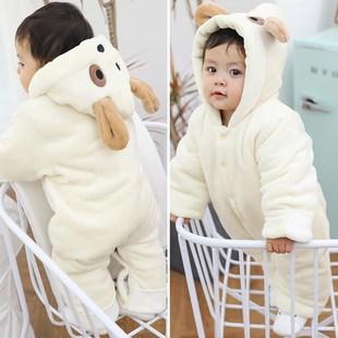 婴儿连袜脚连体衣秋冬季加厚宝宝包脚哈衣新生儿保暖外出棉服带帽
