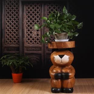 泰国手工艺品东南亚木雕摆件可爱动物实木凳子猫咪花架装饰品摆件