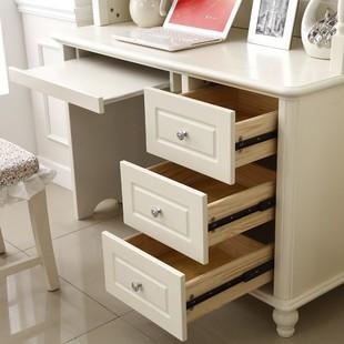 儿童书桌书架组合转角书桌电脑桌连体书柜欧式实木写字台1米