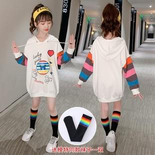 12女童中长款卫衣2020秋季新款中大童韩版洋气女孩彩虹袖打底衫潮