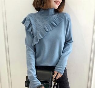 半高领毛衣女士秋冬装新款2018长袖甜美木耳边修身针织打底衫上衣