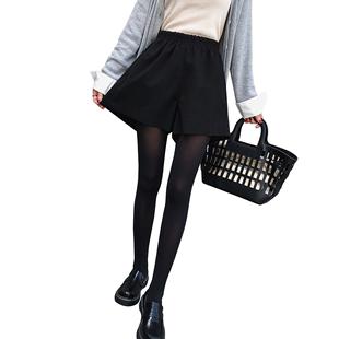 毛呢短裤女2019秋冬新款高腰a字宽松显瘦大码外穿阔腿裙裤潮胖MM