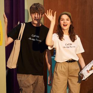 唐狮2019夏装新款情侣装T恤男女白色圆领宽松韩版电话趣味学生潮