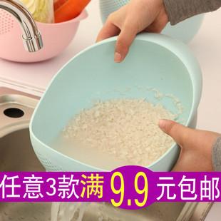 家居纯色加厚厨房淘米器洗米筛淘米盆塑料沥水洗菜篮帽子沥水