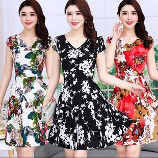 中老年女中年妈妈妇女装35-50夏装中长款印花连衣裙大码碎花裙子