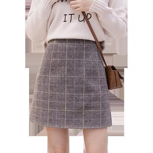 2019新款高腰包臀一步裙防走光格子毛呢裙裤A字半身短裙女