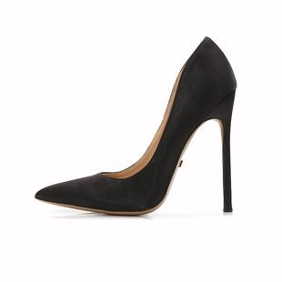 匠约黑色绸缎高跟鞋女超细跟10cm尖头性感夜场12厘米浅口秋季单鞋