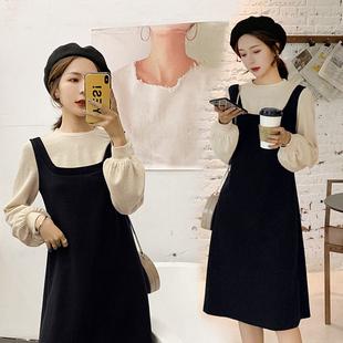 蓝语大码冬装女装2018新款胖妹妹mm打底裙子遮肚假两件显瘦连衣裙
