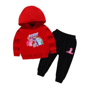 彩虹小马宝莉儿童春装衣服紫悦公主男女童长袖棉卫衣卡通长裤套装