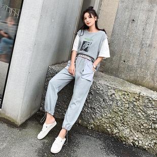 2019夏季新款韩版洋气网红时尚套装女气质学生女神范裤子假两件套