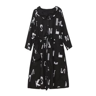 洋氣印花荷葉領女士風衣2019秋裝新款時尚中長款大碼顯瘦修身外套