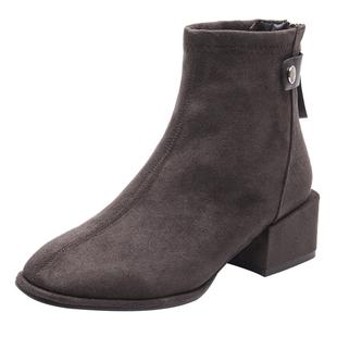 2019新款方头中跟后拉链短靴粗跟加绒冬马丁靴韩版百搭裸靴女靴子