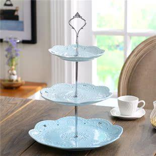 北欧欧式陶瓷三层水果盘蛋糕盘下午茶点心托盘自助餐展示架甜ins