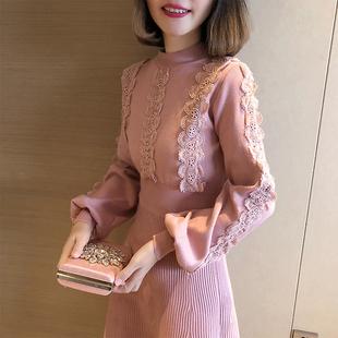 2018秋冬女装新款半高领灯笼长袖针织打底裙甜美蕾丝边毛衣连衣裙