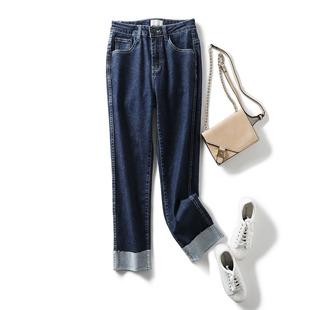 品质订单~ 帅气丹宁 可翻遍裤口舒适高弹力湛蓝色小直筒牛仔裤