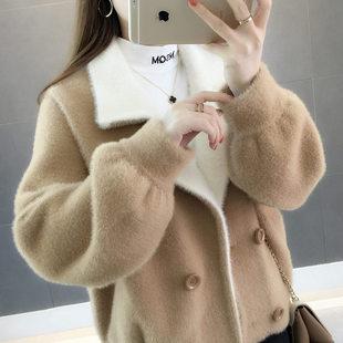 2018新款韩版短款宽松貂绒开衫女秋冬季女装百搭水貂绒大衣短外套