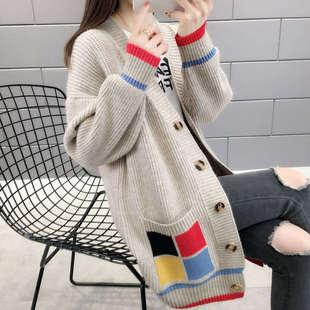 303网红毛衣开衫女新款中长款宽松韩版针织衫线衫很仙的春秋外套
