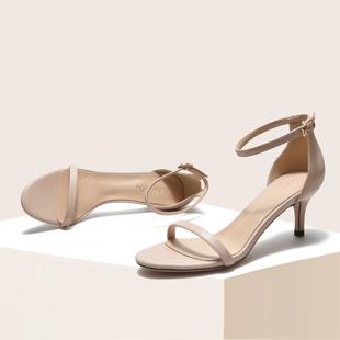 裸色一字带凉鞋女2019夏季韩版百搭皮面5cm细跟露趾中跟高跟鞋女