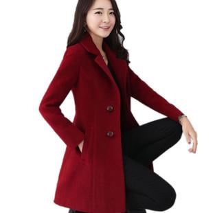 毛呢外套女潮流新款秋冬小个子中长款显瘦大码女装呢子大衣女